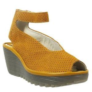 Fly London Honey Yala Leather Ankle-Strap Wedge 7